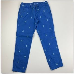 4 Regular Capri Pants Blue Anchor Crop Summer Boat